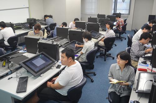 2016年度後期授業から活用が始まった「マンガ・アニメ制作ラボ」=KCG京都駅前校